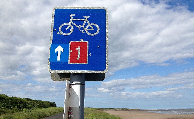 North Sea Cycle Route: Signposting UK's National Cycle Route 1 near Low Hauxley