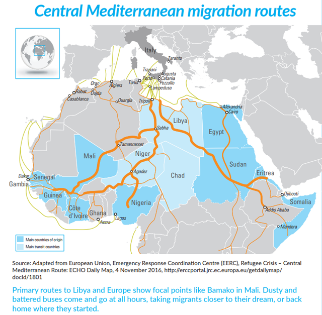 Central Mediterranean migration routes from Africa. Source: Adapted from European Union, Emergency Response Coordination Centre (EERC), Refugee Crisis – Central Mediterranean Route: ECHO Daily Map, 4 November 2016, http://erccportal.jrc.ec.europa.eu/getdailymap/docId/1801. Graphic: UN
