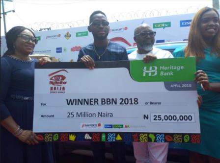 #BBNaija: Miracle Presented With Cheque Of 25 Million Naira And His Car (Photos)