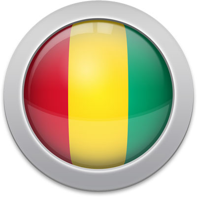 Guinean flag icon with a silver frame