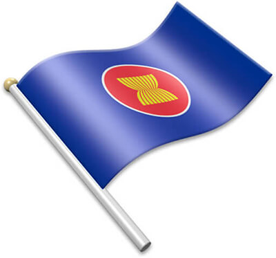 The ASEAN flag on a flagpole clipart image