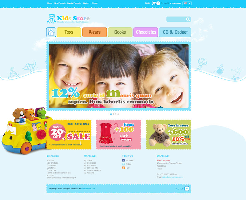 Kid Stores Template - Home Page