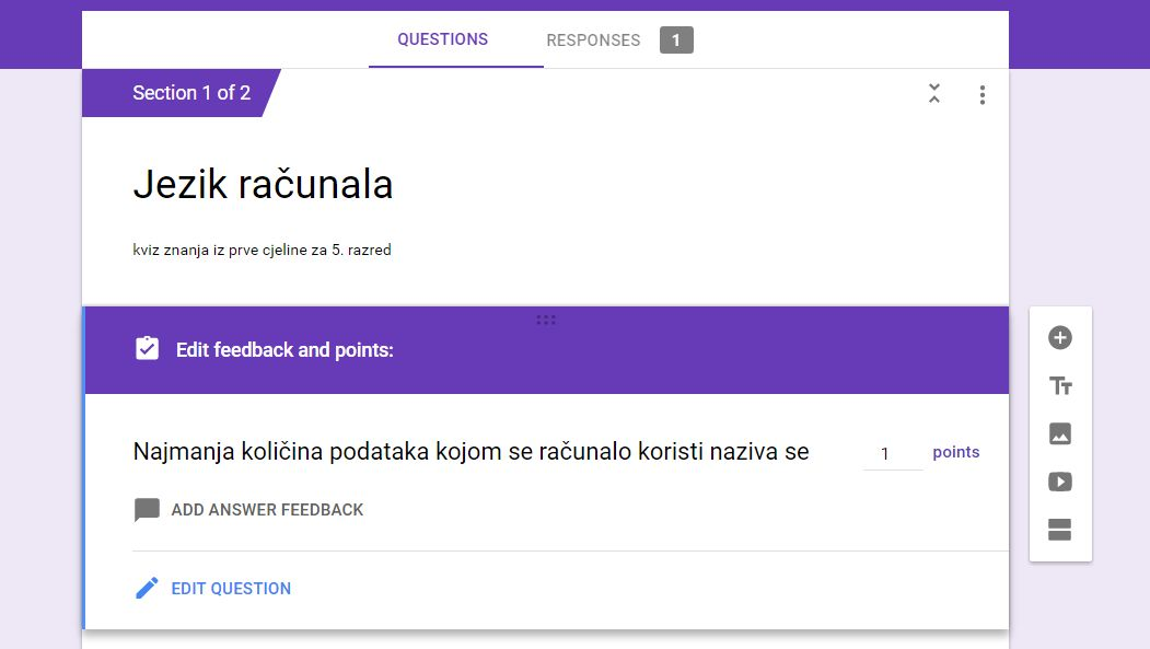 How can I set answer key for short answer in google forms