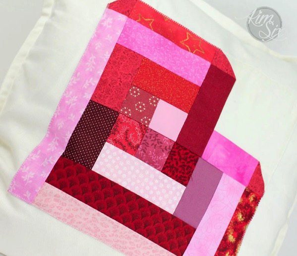 Log cabin valentine block