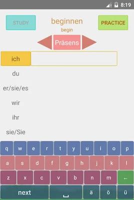 تطبيق لتصريف الافعال الشاذة Unregelmäßige Verben مع PRÄTERITUM UND PERFEKT · الاندرويد + تدريبات مع جمل