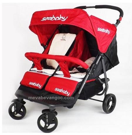 Xe đẩy đôi trẻ em Seebaby T22 màu đỏ.