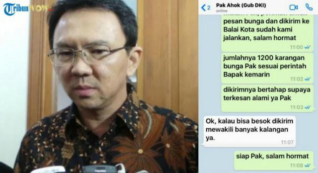 Muncul Screenshot WA Ahok diskusi dengan penjual karangan bunga, Coba tebak apa respon Ahok