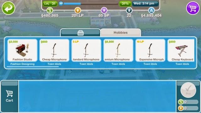 Sims Freeplay Fashion Designer Hobby Greenoid Gemzicle