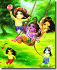 [Krishna and friends in Vrindavana]