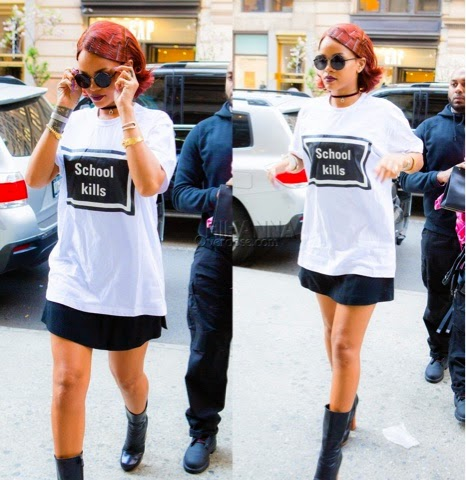 Rihanna in Hyein Seo School Kills Shirt