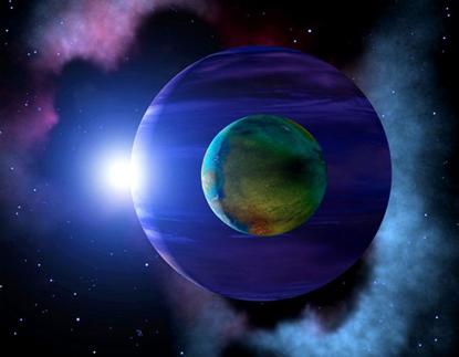 ilustração de uma exolua e seu exoplaneta