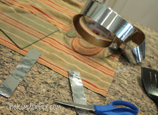 Cutting silver tape strips