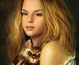 Beautyful Girl With Cat In Her Hands