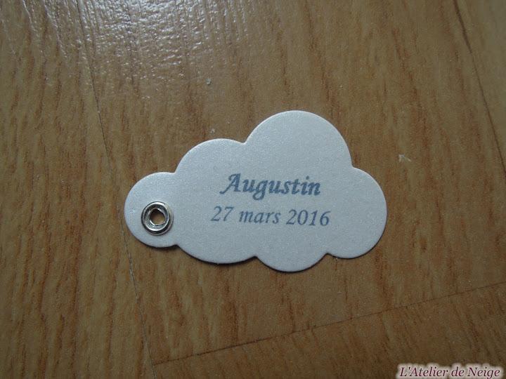 217 - Etiquettes à Dragées Baptême Augustin 27 mars 2016