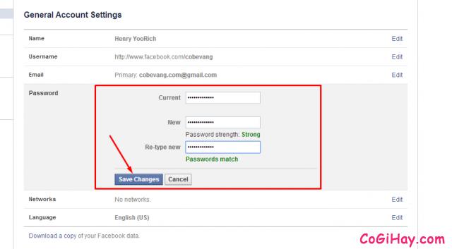 thực hiện đổi mật khẩu facebook thành công