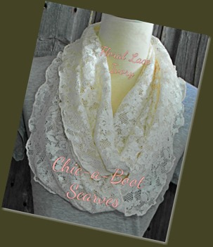 Floral Lace Ivory Infinity Scarf