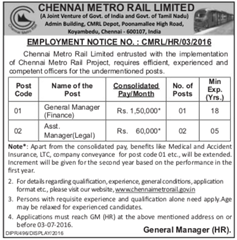 CMRL Jobs 2016 Managers