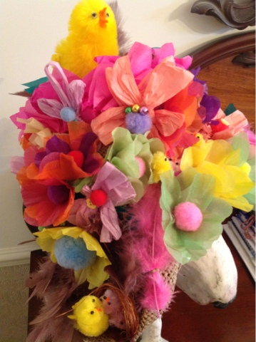 How to make tissue paper flowers for easter bonnet flowers healthy be jolly making tissue paper flowers nests and a jolly hat here is the bonnet and a cheery ie one too curly being modelled by lennie mightylinksfo