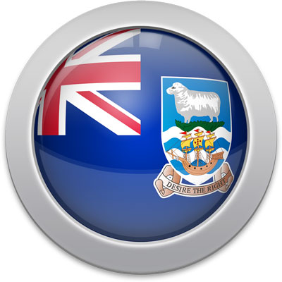 Falkland Island  flag icon with a silver frame