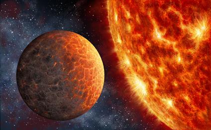 ilustração de um exoplaneta análogo de Vênus em torno de uma anã M