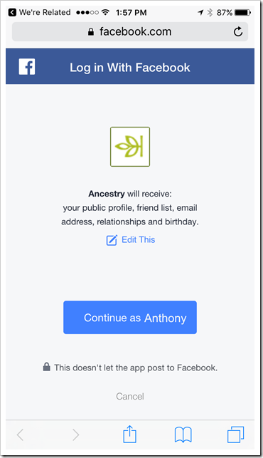 We're Related - Facebook Login