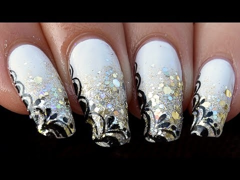 Silver And White Glamour Nail Art Designs 2016 Fashionte