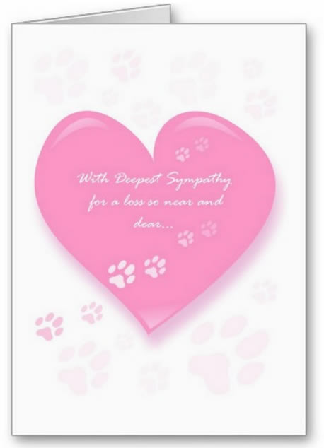 Pink Heart with Pawprints - Dog Sympathy Card