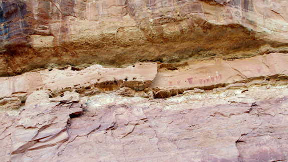 Two granaries (far left) and pictographs at Valentine Bottom