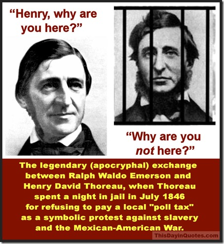 Emerson & Thoreau in jail (quotes)