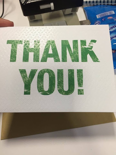 Thank you card from boss