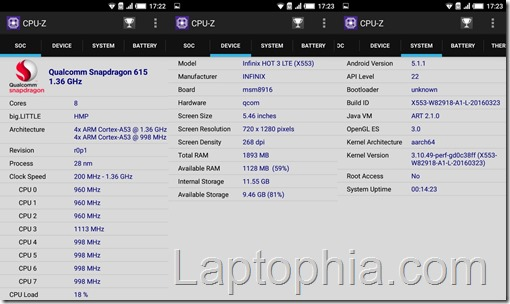 Benchmark Infinix Hot 3 X553 CPU Z