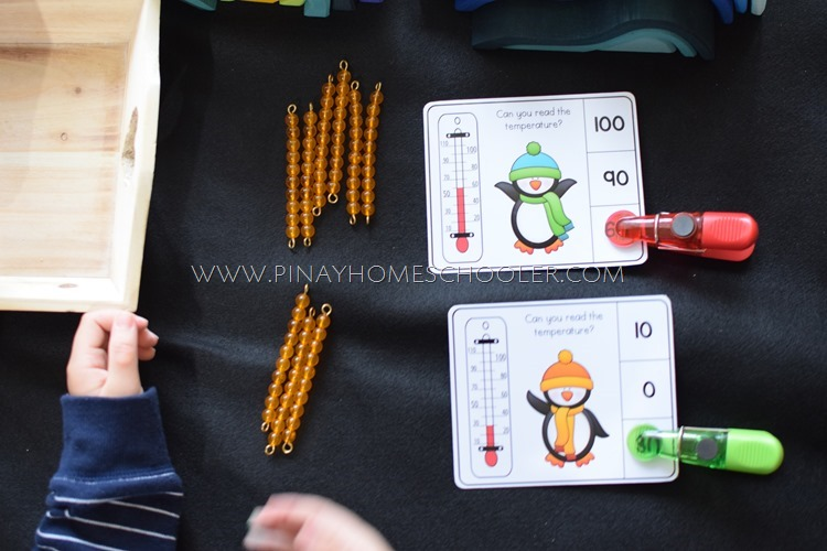 Polar Montessori Activity: Penguin Thermometer Learning Tens