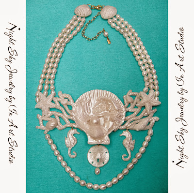 Mermaid Jewelry Necklace in Pearl