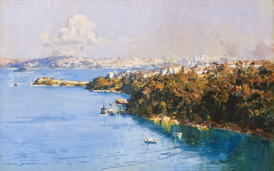 Arthur Streeton - The Harbour from Mosman 1926