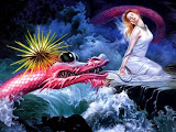 Red Dragon In Waves