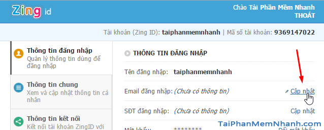 cập nhật email 2s zing speed