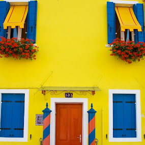 Gorgeous home by Victor Mukherjee - Landscapes Travel ( home, europe, window, colors, burano, venice, door, house, yellow, italy )