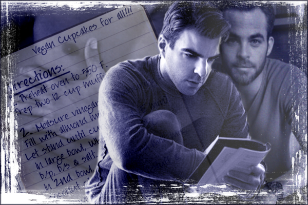 chapter banner with Zach reading the notebook and Chris watching, the recipe of vegan cupcakes in the background