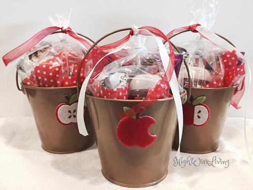 Apple themed gift bucket