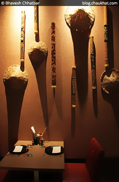 Indoor decoration of Shizusan (The Asian Bistro) in Phoenix Market City at Viman Nagar area of Pune