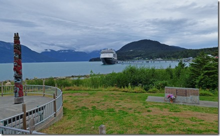 Totum Pole (left), Cruise Ship in Harbor, Memorial (right)