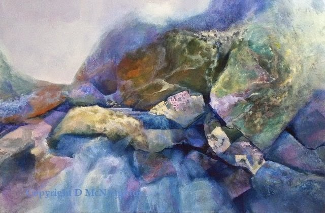 River in spate. Acrylic. Artist Dianne McNaughton