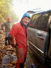 Photo: Caver Bubba & Bill changing into caving gear