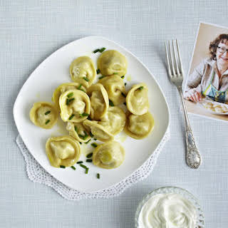 Russian Pelmeni Dumplings with Ground Beef and Onions.