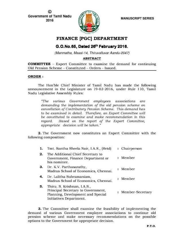 G.O.No.65 Dt: February 26, 2016 COMMITTEE – Expert Committee to examine the demand for continuing Old Pension Scheme – Constituted – Orders – Issued.