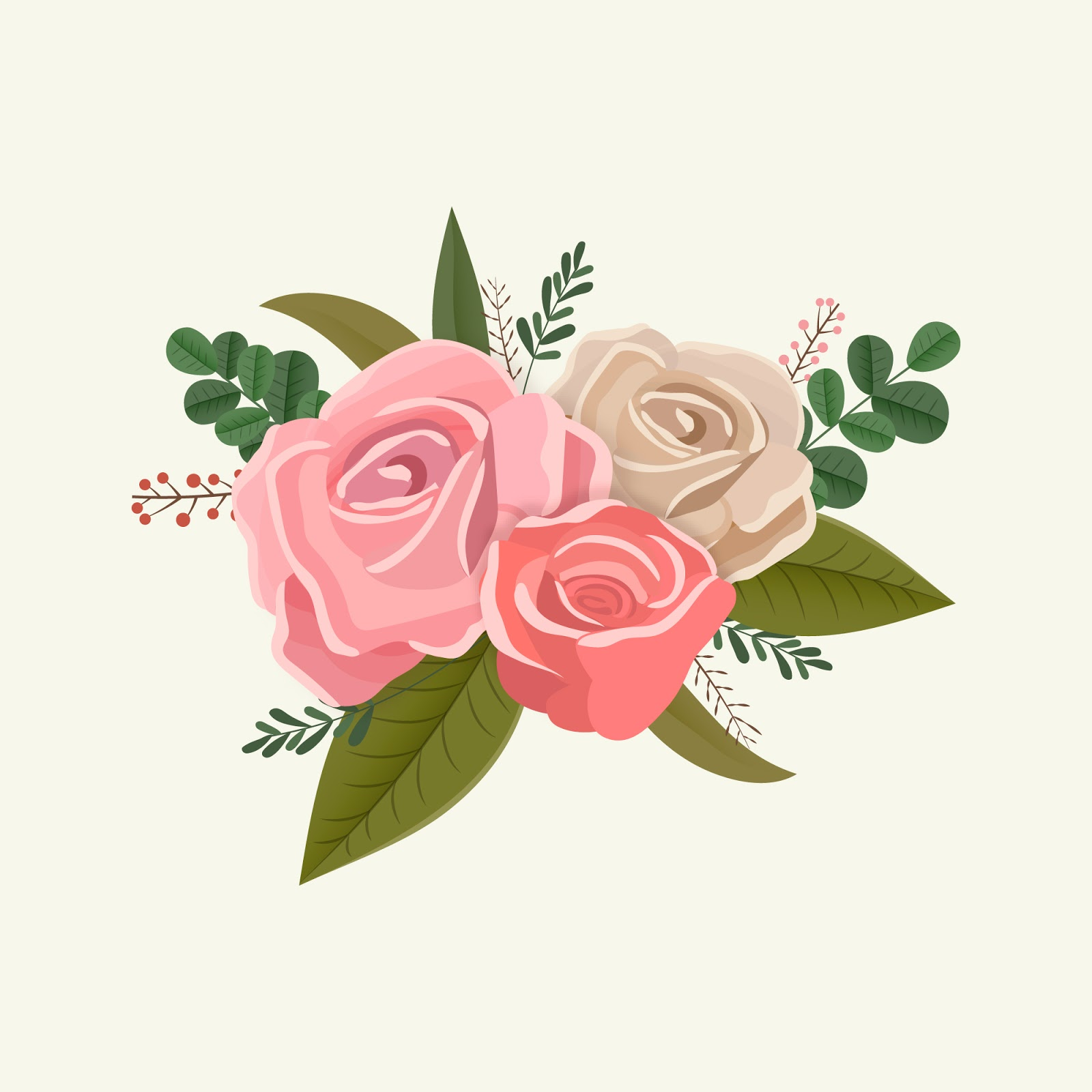 Vintage Floral Bouquet Roses Free Download Vector CDR, AI, EPS and PNG Formats