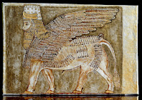 Babylon Sumerian Anunnaki Flying Gods Human headed winged Golden bull