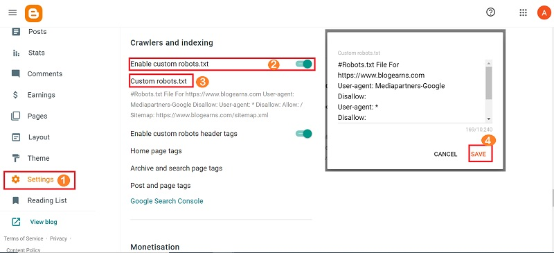Blogger XML sitemap generator steps demo