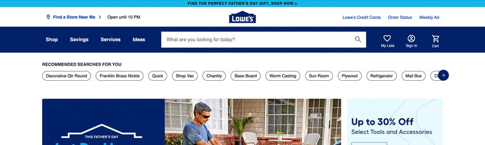 Lowes website sticky bar