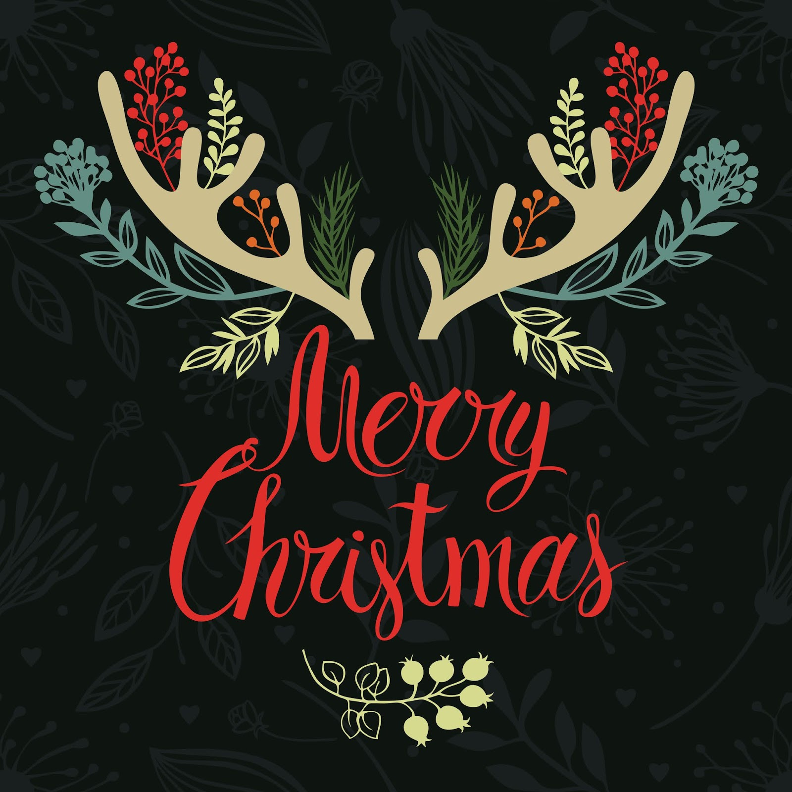 Christmas Antlers Postcard Cover Design Calligraphy Forest Herbs Free Download Vector CDR, AI, EPS and PNG Formats